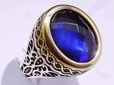 925 sterling silver handmade turkish sapphire mens ring us sz 10.5 free resize
