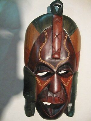 African Tribal Wall Mask Kenya Hand Carved Wood 9 Inch High