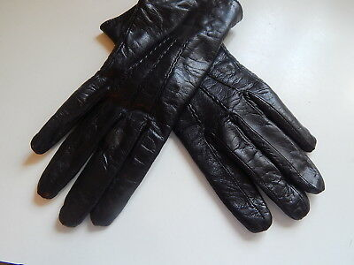 Vintage Black Wool Lined Leather Gloves Size 8 Woman's