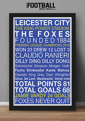 Leicester City Fc Champions Poster Print (Framed)