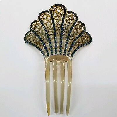 LG. Antique Vintage CELLULOID Mantilla HAIR Wig COMB Tortoise GR/BLUE Jewel FAN!