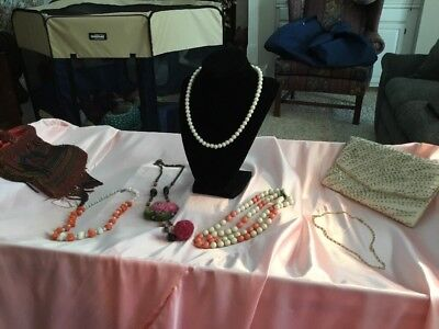 7-Item Lot, Jewelry And Clutch, Purses, Handbag From Estate Sale1