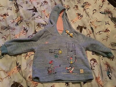 CUTE Girls NEXT Fleece Hooded BLUE Bunny Button Jumper SIZE 12-18 months