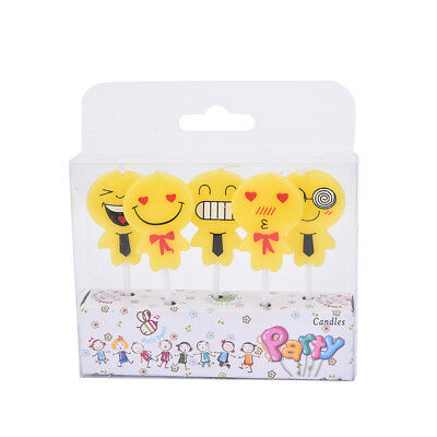 5 x Emoji candles Cake Topper Frosting Cake Candles birthday party decor