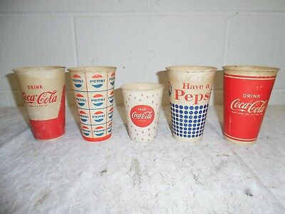 Vintage Lot of 5 Coca Cola and Pepsi Paper Cups