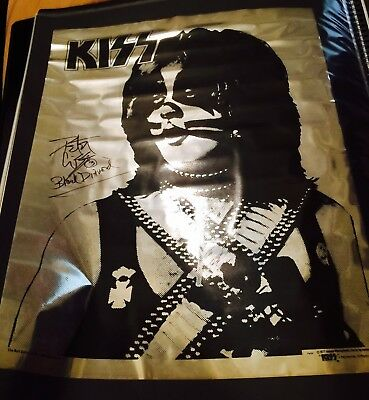 Kiss Mylar Double Platinum Signed Peter Criss Poster 1978