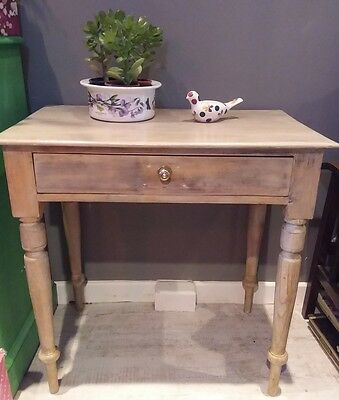 Victorian Pine Side Table/ Desk with front drawer