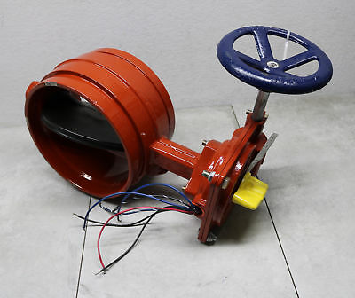 "Kennedy 8"" Butterfly Valve Wafer Type Grooved End Outdoor 01G 300PSI Tamper 120V"