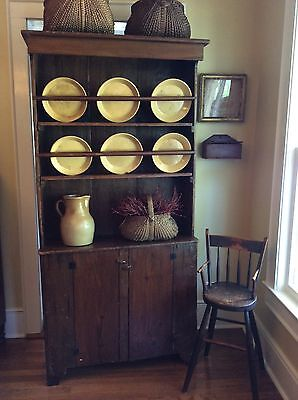 Antique 1800's primitive pewter cabinet Hutch cupboard