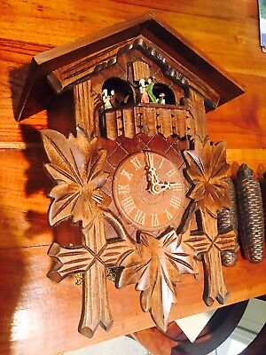 Cuckoo Clock Germany Romance Swiss works bird Dancing moving people Hand Carved