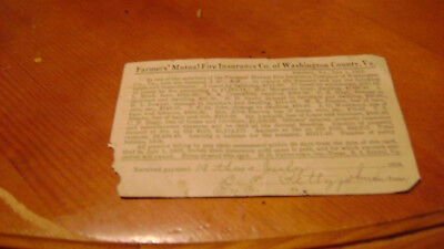 Old 1928 Farmer's Mutual Insurance Recept