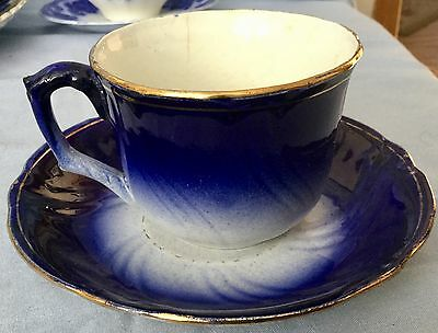 ANTIQUE FLOW BLUE CUP and SAUCER * H. BOULENGER & CO.  FRANCE  *Very Old