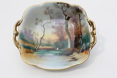 Japan Nippon Hand Painted Dish Bowl River Scene With Trees And Flying Crane