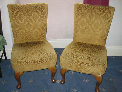 Pair of upholstered Queen Anne style bedroom chairs. Poss re-upholstery project