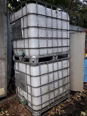 Used, complete, 1000 L Ltr Litre IBC Storage Tank Container
