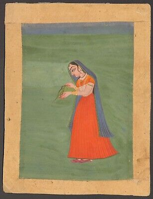 Indian Miniature Paintings - Lot of 3 -  Mother Child parakeet Rajasthan 18/19th