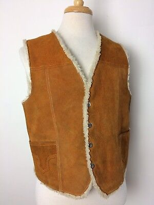 Vintage Genuine Suede Leather Vest Size XL Western Shearling Marlboro Man