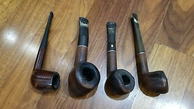 Lot of 4 Vintage Unbranded Imported Briar Italy Tobacco Estate Pipes