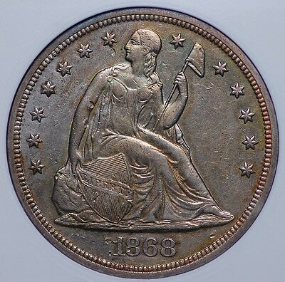 """1868 """"motto"""" Seated Liberty Dollar (Small White) Anacs Ef45 A Beautiful Example"""