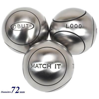 Boules de pétanque Obut Match 115.it  inox 72mm Gris 57624 - Neuf