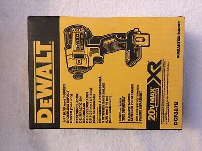 """New Dewalt DCF887B 1/4"""" 3 Speed 20V Max XR Brushless Impact Driver Made in USA"""