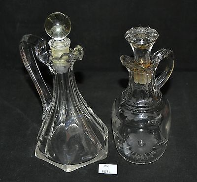 ThriftCHI ~ Glass Cruets w Miss Matched Stoppers - Unmarked