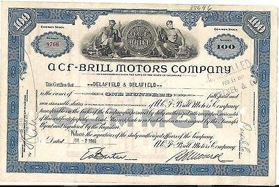 2 different, Stock Certificate ACF-Brill Motors Company. Delaware **