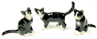 Miniature Hand Painted Set/3 Blk & White Cats (Tiny)
