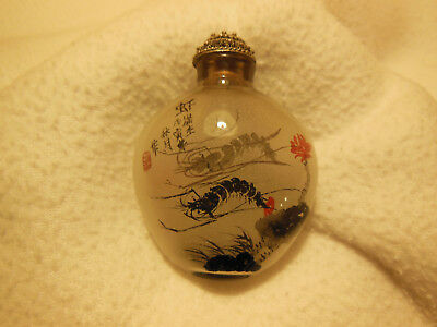 Frosted Glass Inside Hand Painted Shrimp Design Snuff Bottle Nice!!