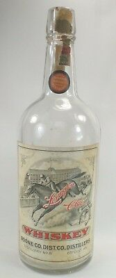 Vintage c 1900 LEXINGTON CLUB WHISKEY BOTTLE ~ Kentucky Horse Racing Derby Scene