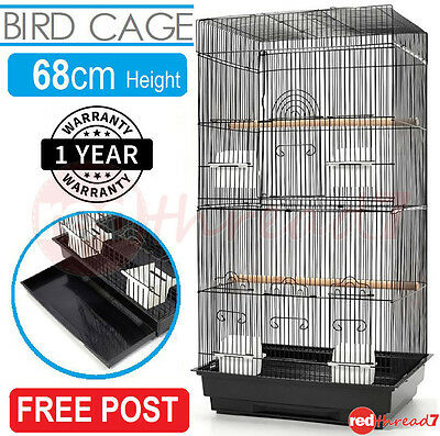 Bird Cage Parrot Budgie Canary Finch Carry Medium Wrought Iron Black Feeder 88cm