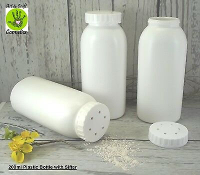 Sifter Shaker 200ml Bottle Empty Talc White Plastic Cosmetic Container Packaging