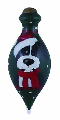 "Happy Howlidays To You Christmas Ne'Qwa Ornament Dog Santa Hat Glass 4"" Petite"