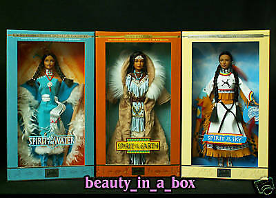 Spirit of the Water Earth Sky Native Spirit American Barbie Doll Lot 3 EXC