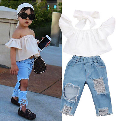 Kids Baby Girls Off Shoulder Tops Holes Denim Pants Jeans  Outfits Set Clothes