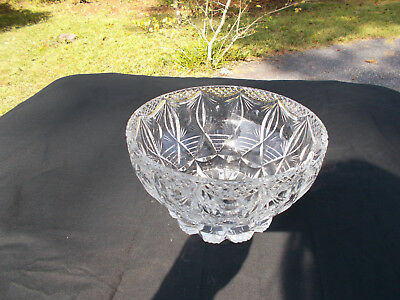 Unique Cut Glass 'Adam Swag' Bowl - Heavy, Mint Condition