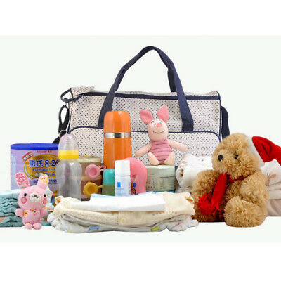 5 Pcs Multifunctional Set Mother Baby Changing Diaper Mummy Handbag Nappy Bag