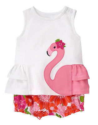 NWT Gymboree Tiny Tropics Flamingo Floral Top Bloomer Set Outfit 2PC Baby Girl