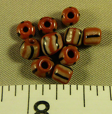 (10) Huron Indian False Chevron Glass Trade Beads 150+ Years Old Red White Black