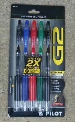 5 PILOT G2 0.5mm. X Fine Point RT Gel Pens BLUE Black GREEN Red INK