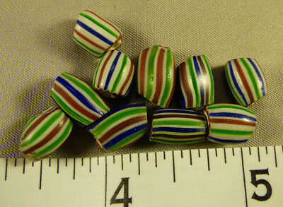 (10) Hudson's Bay Company Indian Watermelon Glass Trade Beads 150+ Years Old