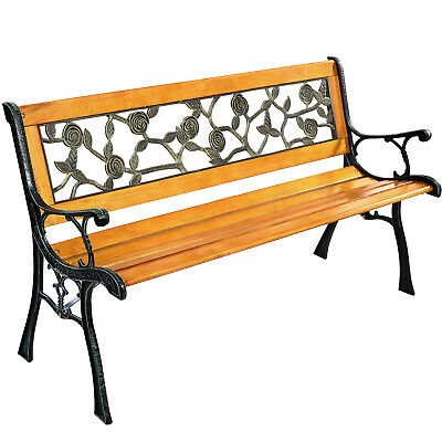 Garden Bench Patio Porch Chair Deck Hardwood Cast Iron Love Seat W512