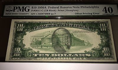 Offset Printing Error Note Wet Ink Transfer  1950 $10 Frn 100% F2B Offset Pmg 40