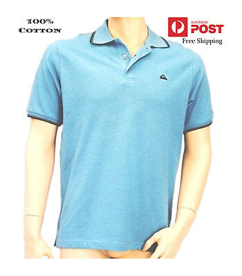 New Mens Authentic Quiksilver Polo Shirt Tee Shirt Top Surf Sz S Blue Time On