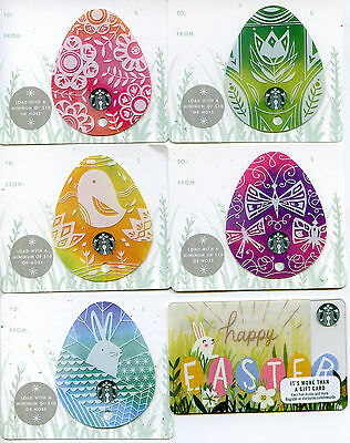COMPLETE SET 5 different NEWEST 2017 MINI EASTER STARBUCKS Keychain gift card