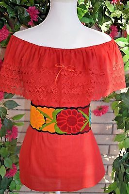 Red Campesina/peasant Mexican Blouse Size Small/medium/onesize Off Shoulder