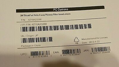 Lenovo Accessory 4Z10A23288 3M ThinkPad Helix 4-way Privacy Filter Only - New A9