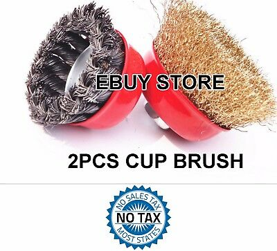 2 PC LOT 75mm Twist Knot Wire 1 Cup Brush & 75mm Crimped 1 Cup Brush Wire Wheel