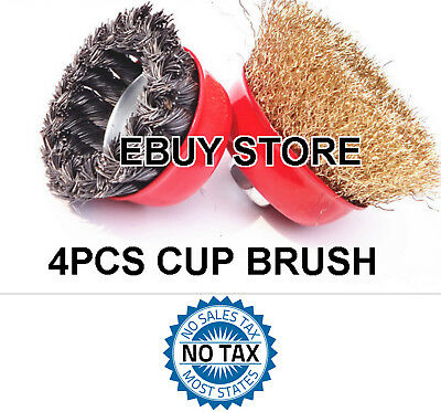 4 PC LOT 75mm Twist Knot Wire 2 Cup Brush & 75mm Crimped 2 Cup Brush Wire Wheel