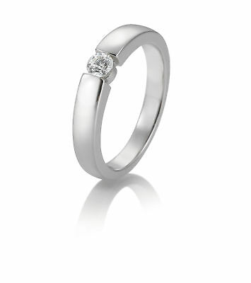 OR BLANC FEMME Bague à brillant 41-85869-0-54 585 Or Blanc